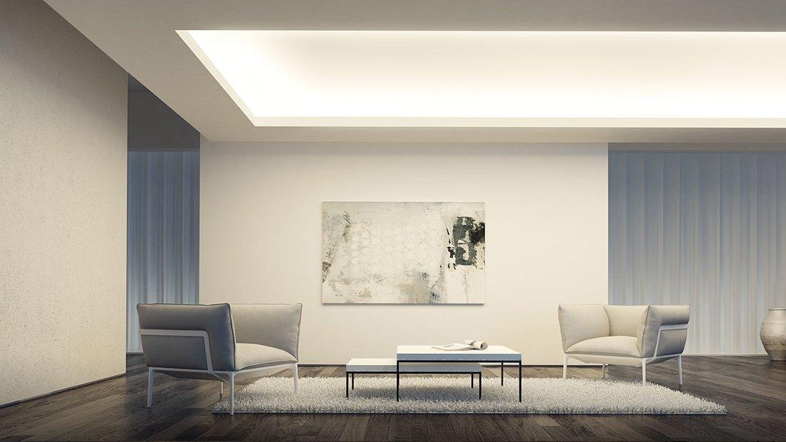 Освещение комнаты с низким потолком светодиодной лентой