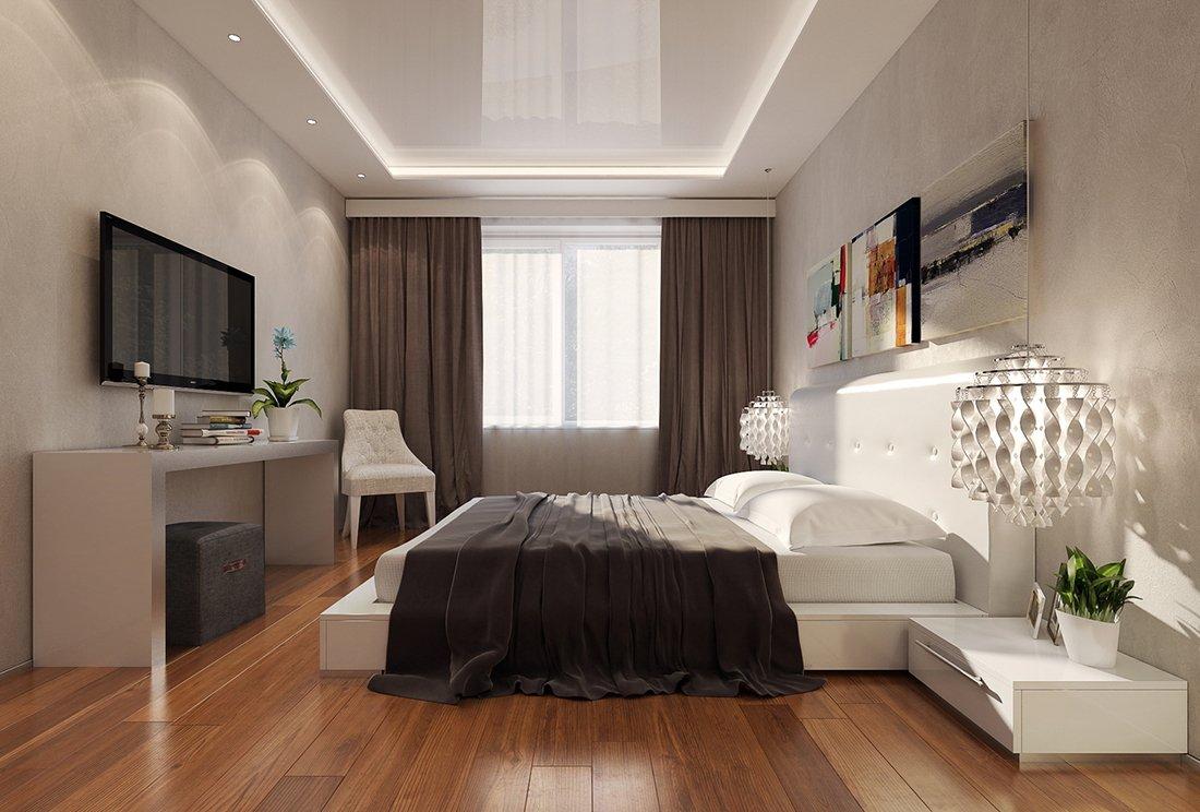 Многоуровневый потолок с глянцевой поверхностью и точечными светильниками