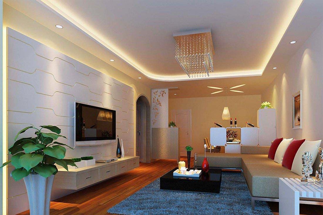 Люстра и точечные светильники в гостиной с низким потолком